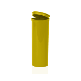 Opaque Gold 60 Dram Pop Top, 60 dram pop top containers, open, Gold, cannabis, child resistant