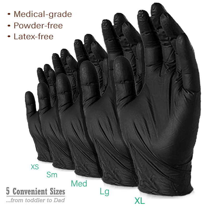 disposable gloves, disposable medical gloves, medical gloves, nitrile, blsck gloves, black nitrile, powder-free gloves, latex, latex gloves